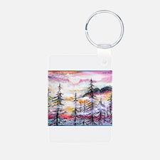 Misty mountains, art, Aluminum Photo Keychain