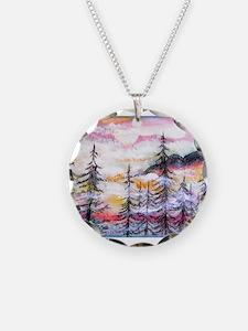 Misty mountains, art, Necklace
