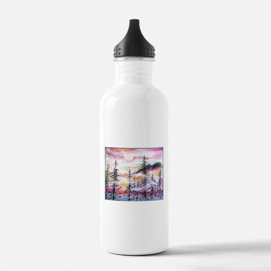 Misty mountains, art, Water Bottle