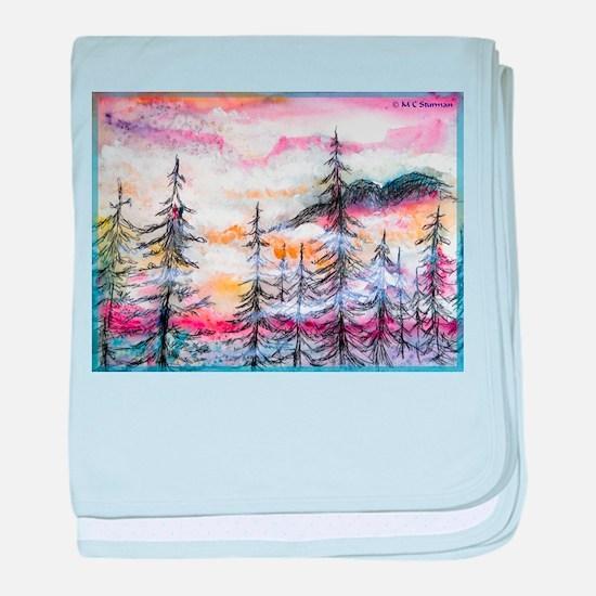 Misty mountains, art, baby blanket
