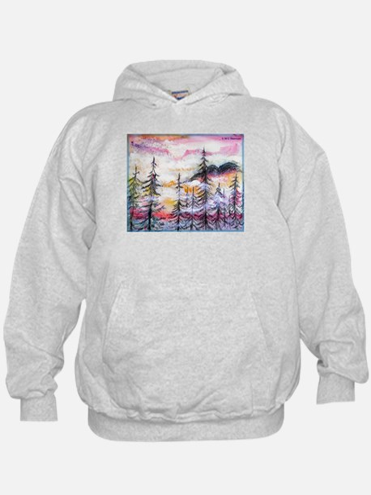 Misty mountains, art, Hoodie