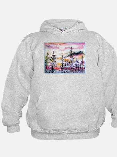 Misty mountains, art, Hoody