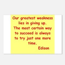 Thomas Edison quotes Postcards (Package of 8)