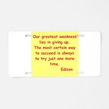 Thomas Edison quotes Aluminum License Plate