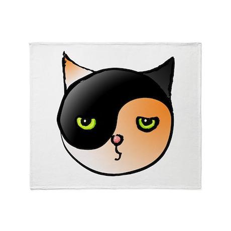 Ying Yang Yin Yang Cat Calico Throw Blanket