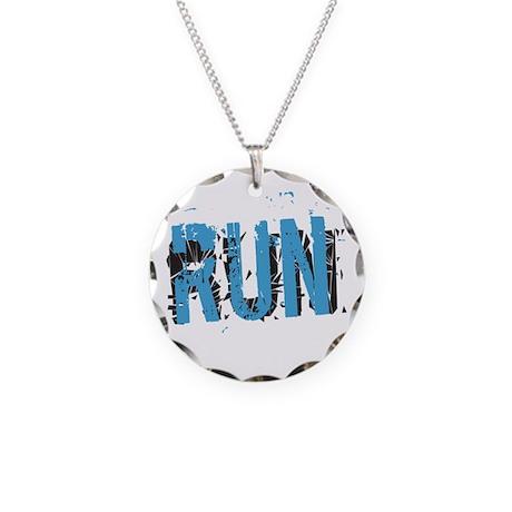 Grunge RUN Necklace Circle Charm