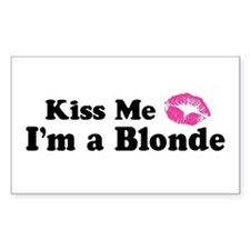 Kiss Me I'm a Blonde Rectangle Decal