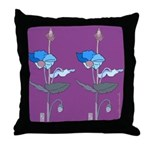 Blue Poppy Drawing Purple Throw Pillow