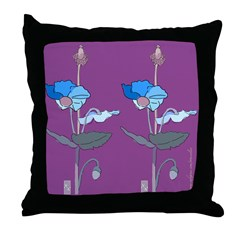 Blue Poppy Drawing Purple Throw Pillow