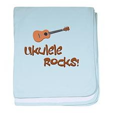 Ukulele Rocks! baby blanket