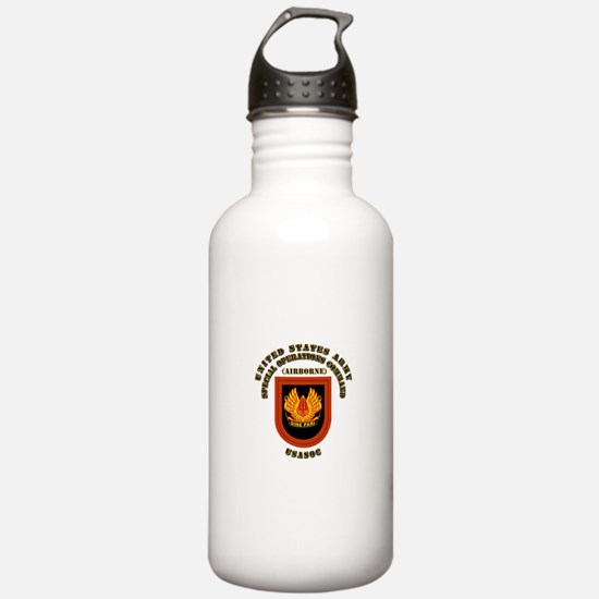 SOF - USASOC Flash with Text Water Bottle