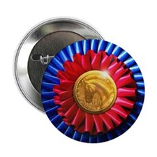 """Horse Show Blue, Red Ribbon 2.25"""" Button (100 pac"""