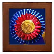 Horse Show Blue, Red Ribbon Framed Tile