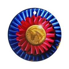 Horse Show Blue, Red Ribbon Ornament (Round)
