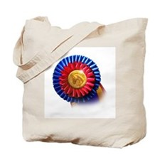 Horse Show Blue, Red Ribbon Tote Bag