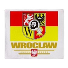 Wroclaw Flag Throw Blanket