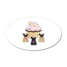 Pug Dog Cupcakes Wall Decal