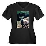 Mountain Sheep Women's Plus Size V-Neck Dark T-Shi