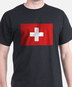 Switzerland Civil Ensign Black T-Shirt