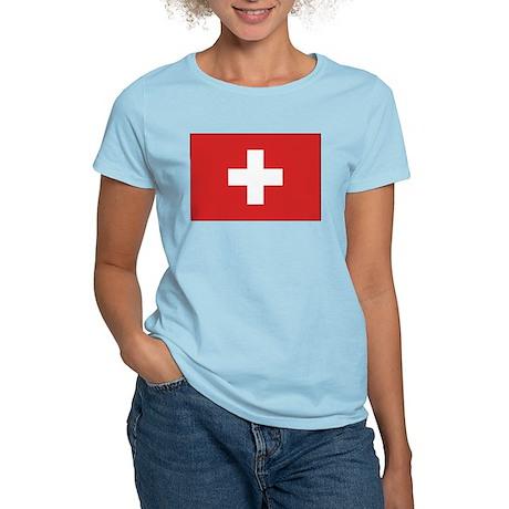 Switzerland Civil Ensign Women's Pink T-Shirt