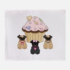Pug Dog Cupcakes Throw Blanket