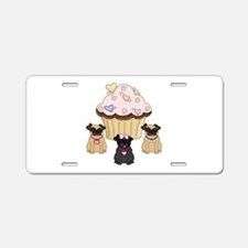 Pug Dog Cupcakes Aluminum License Plate