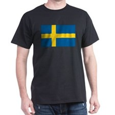 Sweden Flag Black T-Shirt