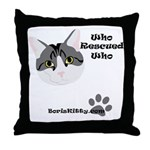 BorisKitty.com Who Rescued Wh Throw Pillow