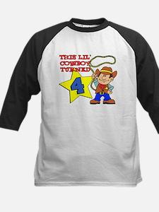 Little Cowboy Turned Four Kids Baseball Jersey
