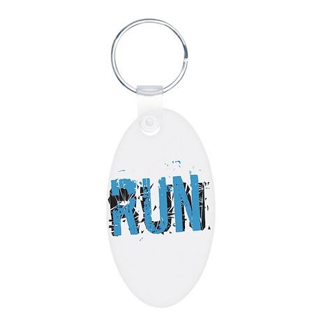 Grunge RUN Aluminum Oval Keychain