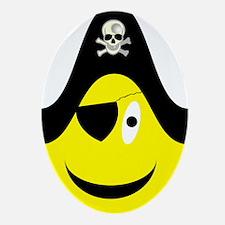 Talk Like A Pirate Yellow Smi Ornament (Oval)
