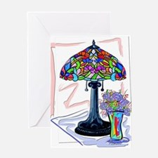 Tiffany lamp and vase 1 Greeting Cards