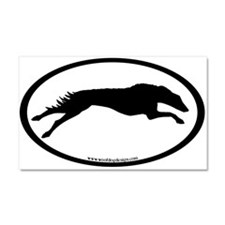Running Borzoi Oval Car Magnet 20 x 12