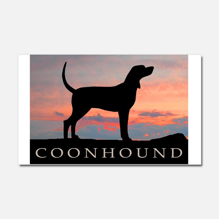 Sunset Coonhound Car Magnet 20 x 12