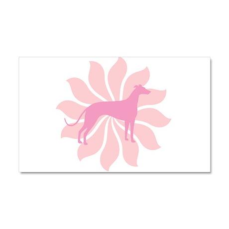 Pink Flower Greyhound Car Magnet 20 x 12