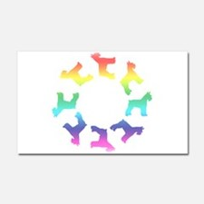 Rainbow Schnauzer Circle Car Magnet 20 x 12