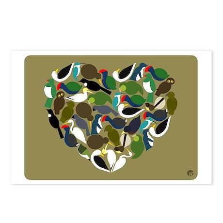 NZ Bird Heart Postcards (Package of 8)