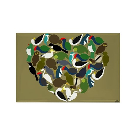NZ Bird Heart Rectangle Magnet