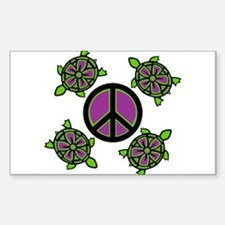 Peace Turtles Rectangle Decal