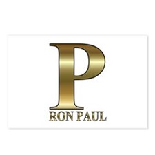 Gold P for Ron Paul 2012 Postcards (Package of 8)