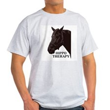 Hippo therapy (Horse Head) Ash Grey T-Shirt
