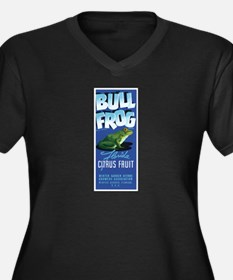 Bull Frog Women's Plus Size V-Neck Dark T-Shirt