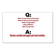 Socialist questions and answe Sticker (Rectangular