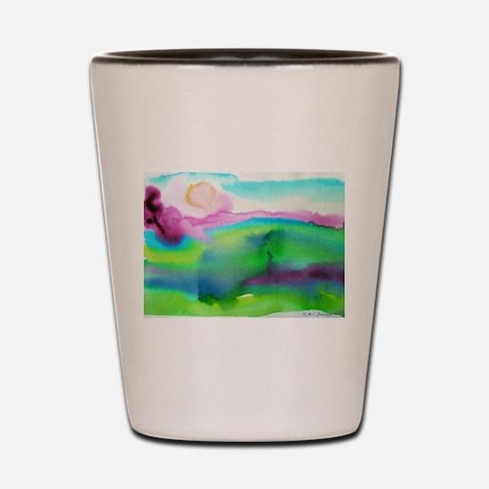 Watercolor, landscape, art, Shot Glass