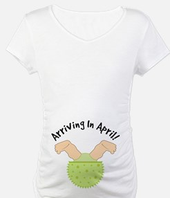 April Due Date Belly Print Maternity Tee