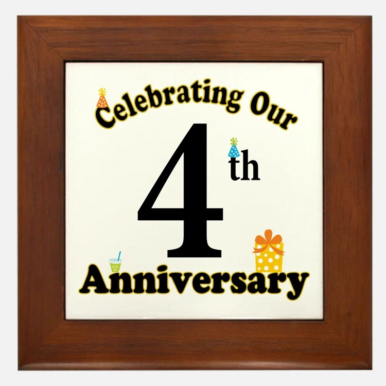 4th Anniversary Party Gift Framed Tile