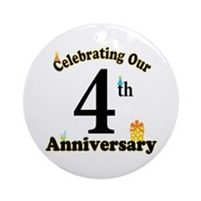 4th Anniversary Party Gift Ornament (Round)