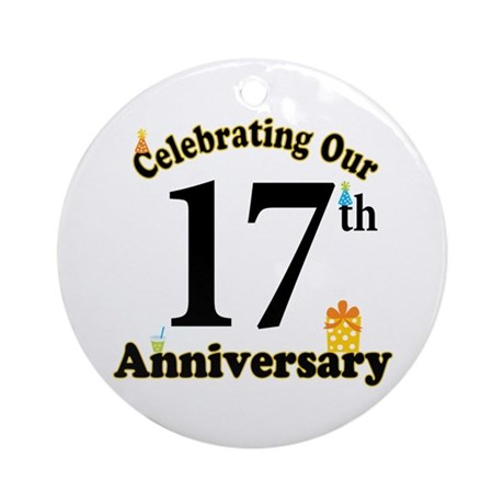 17th Anniversary Party Gift Ornament (Round)