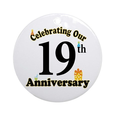 19th anniversary party gift ornament round by