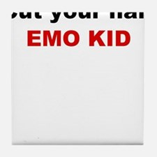 Emo kid cut your hair Tile Coaster